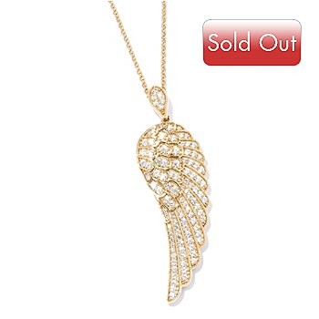 117-861 - Brilliante® 1.92 DEW Simulated Diamond Wing Pendant w/ 24'' Chain