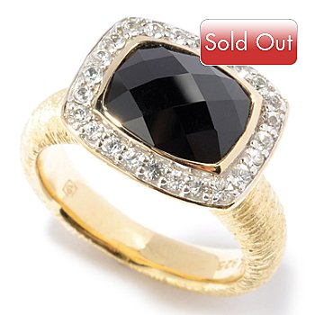 117-917 - Michelle Albala Checkerboard-Cut Black Spinel & White Sapphire Ring