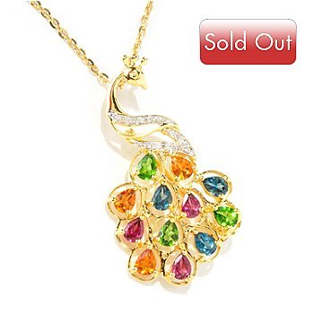 118-109 - NYC II Exotic Multi-Gemstone & Diamond Peacock Pin/Pendant w/ Chain