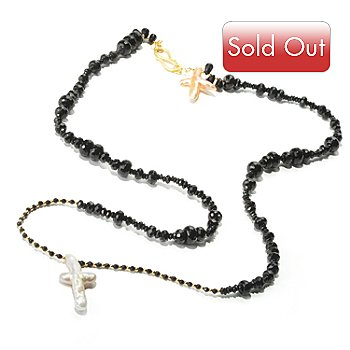 118-269 - Provisor + Wisch 39'' Black Agate & Cultured Pearl ''Double Crosses'' Necklace
