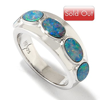 118-333 - Gem Insider Sterling Silver Opal Doublet Band Ring
