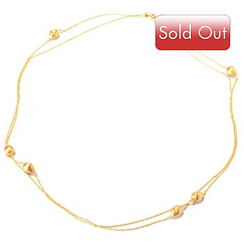 118-480 - Portofino Gold Embraced™ 72'' Brushed Pear Shaped Bead Station Necklace