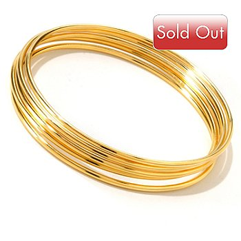 118-481 - Portofino Gold Embraced™ Set of Five 8.25'' Polished Slip-On Bangle Bracelets