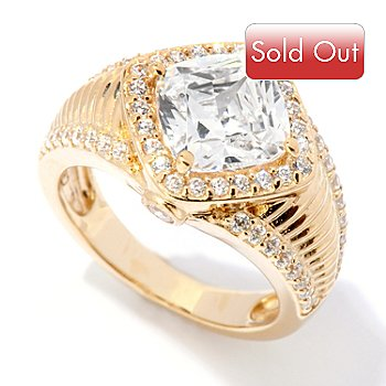 118-647 - DESORO™ Gold Embraced™ Brilliante® 3.12 DEW Cushion Cut Halo Ring