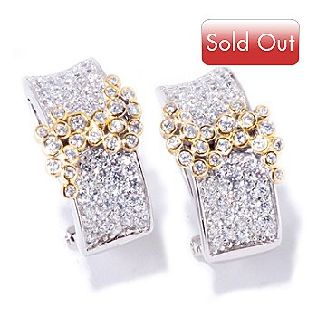 118-698 - Sonia Bitton for Brill 3.30 DEW Two-tone Pave & Bezel Swirl ''Lunette'' Earrings