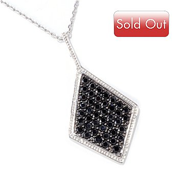 118-859 - Gem Treasures Sterling Silver 3.46ctw Black Spinel Pendant w/ Chain