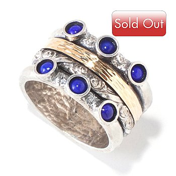 118-937 - Israeli Artisan Sterling Silver & 14K Gold Lapis Textured Spinner Ring