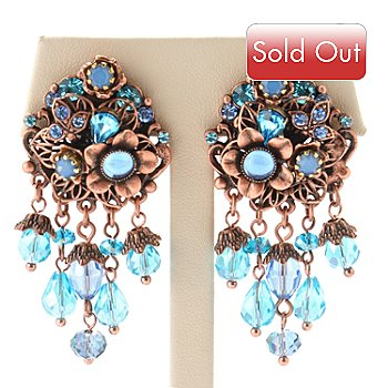 119-030 - Sweet Romance™ Rose-tone 1950s Inspired Aqua Bead Floral Earrings