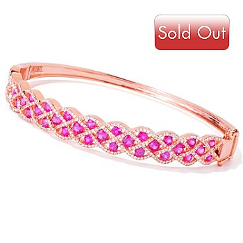 119-038 - EFFY 14K Rose Gold 4.52ctw Ruby & Diamond Precious Lace Design Bangle