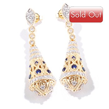 119-074 - Beverly Hills Elegance 14K Gold 1.57ctw Diamond & Sapphire Drop Earrings