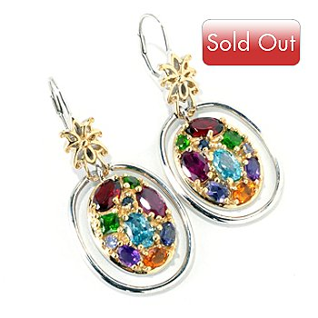 119-094 - Gems en Vogue II 7.64ctw Multi Gemstone Oval Drop Earrings