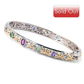 119-095 - Gems en Vogue II 3.82ctw Exotic Multi Gemstone Hinged Bangle Bracelet