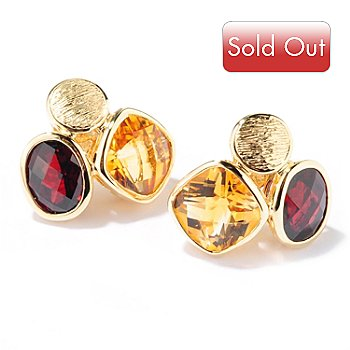 119-122 - Michelle Albala 8.06ctw Garnet & Citrine Brushed Earrings