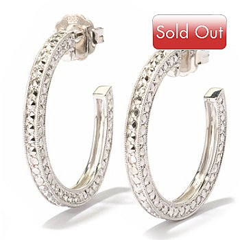 119-172 - Marcasite by Dallas Prince Sterling Silver Chrome Marcasite Hoop Earrings