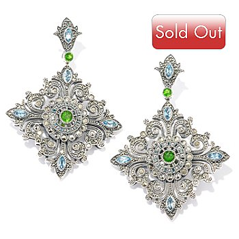 119-216 - Marcasite by Dallas Prince Sterling Silver Multi Gemstone Earrings