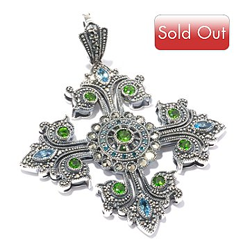 119-220 - Marcasite by Dallas Prince Sterling Silver Swiss Blue Topaz & Multi Gem Pendant