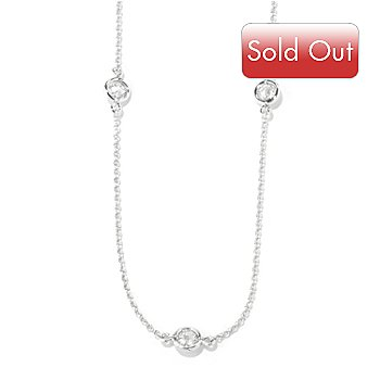 119-350 - Brilliante® Platinum Embraced™ 36'' 5.06 DEW Bezel Set Simulated Diamond Station Necklace
