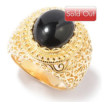 119-404 - Jaipur Bazaar Gold Embraced[ 12 x 10mm Onyx Filigreed Band Ring
