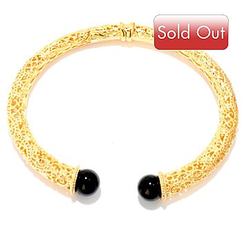 119-412 - Jaipur Bazaar Gold Embraced™ 7.25'' Onyx Hinged Bracelet