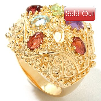 119-417 - Jaipur Bazaar Gold Embraced[ 2.14ctw Multi Gemstone Dome Ring