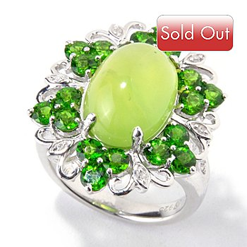 119-505 - Gem Insider Sterling Silver Green Opal & Multi Gemstone Ring