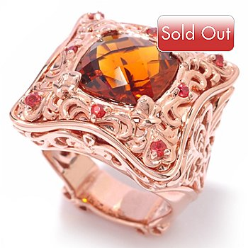 119-772 - Dallas Prince Designs 5.03ctw Madeira Citrine & Orange Sapphire Ring