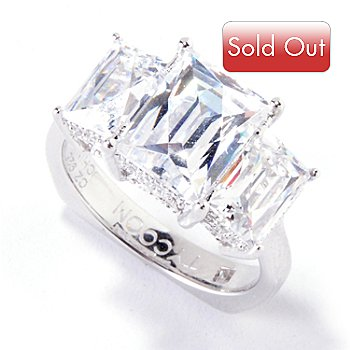 119-845 - TYCOON for Brilliante® Platinum Embraced™ 4.61 DEW Three-Stone Rectangular Ring