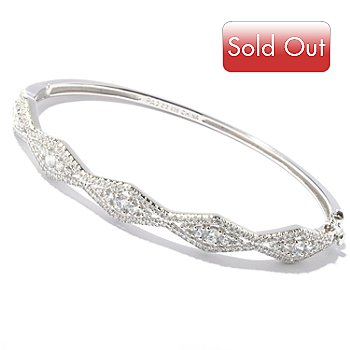 119-936 - BELITA[ Platinum Embraced[ Brill 2.09 DEW Diamond Shaped Hinged Bracelet