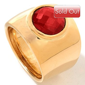 119-964 - ''As Is'' Viale18K® Italian Gold Gemstone Center Polished Band Ring
