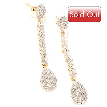 120-042 - Diamond Treasures 14K Gold 1.75'' 2.00ctw Diamond Drop Earrings
