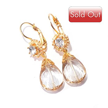 120-062 - Sweet Romance™ Gold-tone Crystal Teardrop ''Champagne on Ice'' Earrings