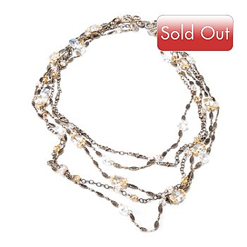 120-076 - Sweet Romance™ Gold-tone 30'' Crystal Knot Multi Strand Necklace
