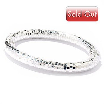 120-141 - SempreSilver™ 7'' Diamond Cut Hinged Bangle Bracelet