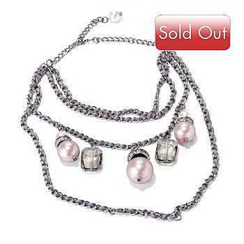 120-238 - The Find Jewelry By Annie G. 17'' Rhinestone & Glass Pearl ''Marilyn'' Necklace w/ Extender
