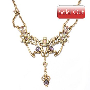 120-269 - Sweet Romance™ 16'' Gold-tone Art Nouveau Lilac Necklace