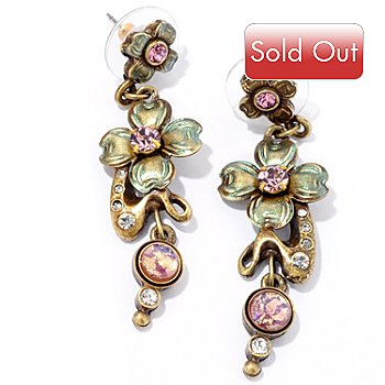 120-271 - Sweet Romance™ Gold-tone Art Nouveau Lilac Earrings