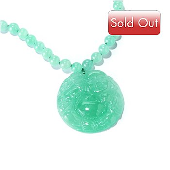 120-369 - Sterling Silver 32'' Dyed Jade Carved Buddha Necklace