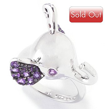 120-399 - Gem Treasures Sterling Silver Pave Amethyst Elephant Ring