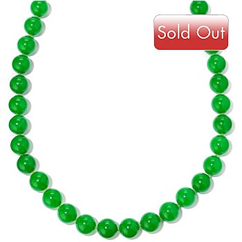 120-595 - Sterling Silver 36'' Dyed Kunlun Jade Necklace w/ Magnetic Clasp