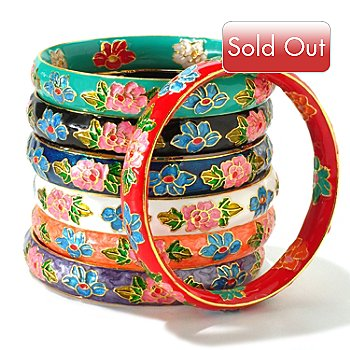 120-596 - Set of Seven 8'' Cloisonne Bangle Bracelets