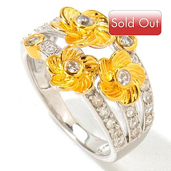 120-647 - NYC II White Zircon Multi Flower Ring
