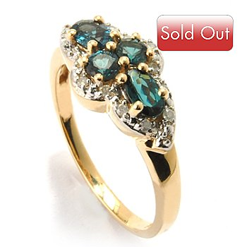 120-724 - Gem Insider 14K Gold Color Change Garnet & Diamond Four-Stone Ring
