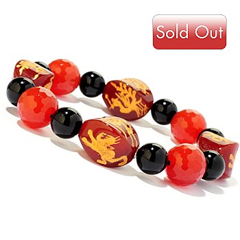 120-738 - 8'' Carved Carnelian & Onyx Dragon Bead Stretch Bracelet