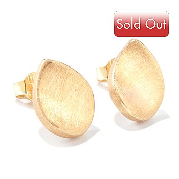 120-766 - Viale18K® Italian Gold Electroform Concave Teardrop Stud Earrings
