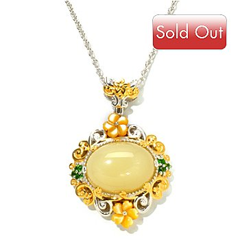 120-853 - Gems en Vogue II 16 x 12mm Yellow Opal, Carved Shell & Chrome Diopside Pendant w/ Chain
