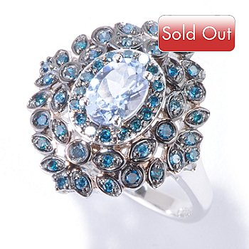 120-933 - Gem Treasures 14K White Gold Blue Morganite & Blue Diamond Ring