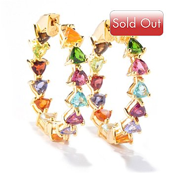 120-986 - NYC II 1' 6.34ctw Trillion Multi Gem ''Kaleidoscope'' Inside-Out Hoop Earrings