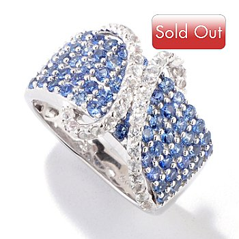 121-064 - Gem Treasures Sterling Silver 2.18ctw Blue & White Sapphire Crossover Ring
