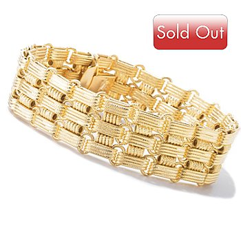 121-086 - SempreGold™ 14K Gold 7.5'' Woven Design Link Bracelet, 21.0 grams