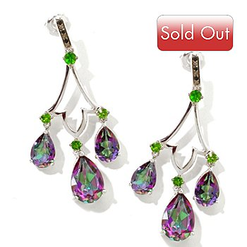 121-133 - NYC II 11.34ctw Exotic Quartz, Chrome Diopside & Black Spinel Earrings
